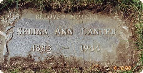 Canter, John Selina A Grave Marker