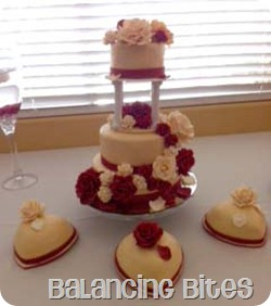 Red and Ivory Cascading Rose Wedding Cake