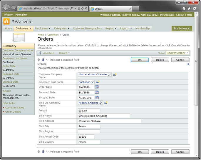 Default 'editForm1' of Orders in Code On Time web application
