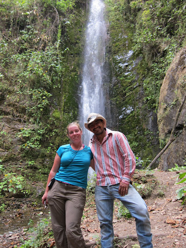 Heather and Holger in front of a waterfall