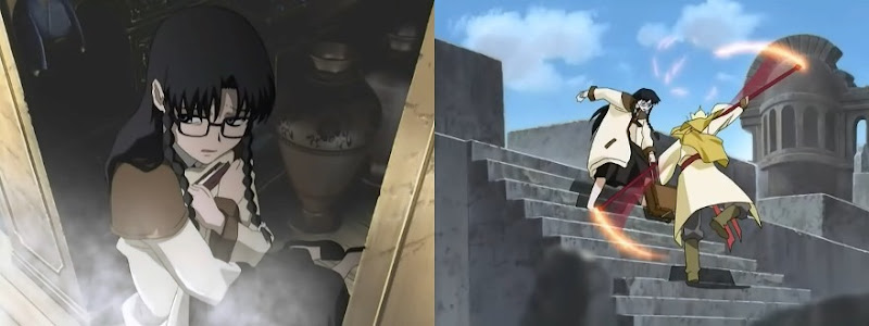A side-by-side screenshot; Yomiko huddles in a corner clutching a book protectively; Yomiko dodges an attack from a resurected Son Goku on some old stone steps