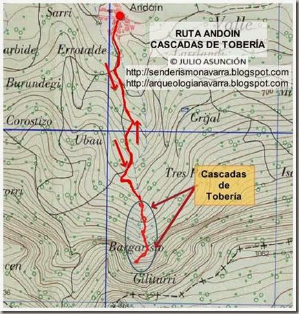Mapa ruta cascadas de Tobería