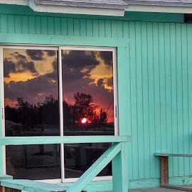 Beach hut sunset by Janet Rogers-Schnarr - Novices Only Abstract
