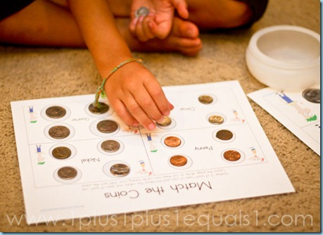 Match the Coins Activity using a free printable (Photo from 1+1+1=1)