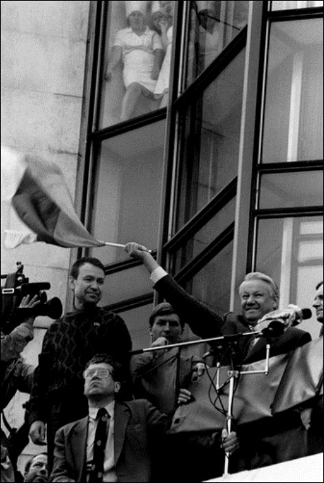 Putch-1.Moscow.9.1991.Boris Yeltsin say:It's a tima of victory.<br />Photo by Oleg Klimov/FotoLoods