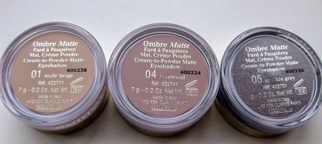 Clarins-Ombre-Matte-Eyeshadows-Nude-Beige,Rosewood, Sparkle-Grey