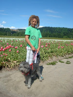 Grandson with Mini Labradoodle Silver Stormy
