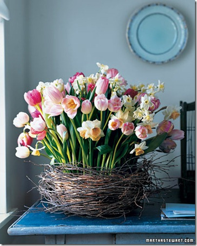 martha stewart tulips and daffodils in a nest