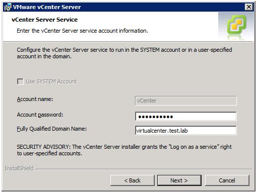 VMware vCenter Server Installer - vCenter Server Service