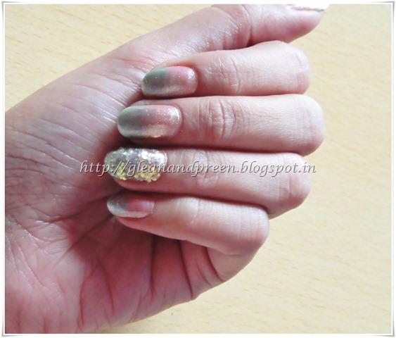 Pink Green Nail Art