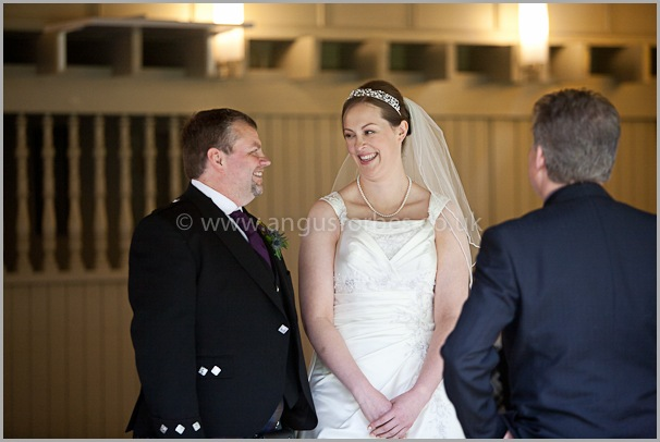 happy bride and groom at wedding in scotland