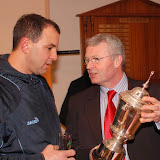 Admiring the trophy. Nick Brujos with Padraig Hackett