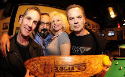 Brad & Bruce on each end along with Morizen Foche & Krissy Jeannie. Mofo presented Bruce with one of his old model boards with many autographs fro friends and skaters.