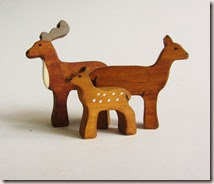 Wooden Deer Family Figures