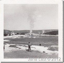 Old Faithful Geyser in Yellowstone National Park Wyoming 1952
