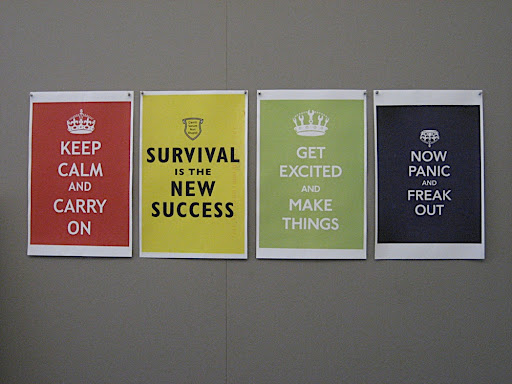 These are some posters that I had my assistant put up for me. They're based on some vintage posters. I think they're great.