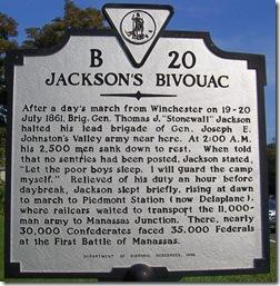 Jackson's Bivouac Marker B-20 Paris, VA
