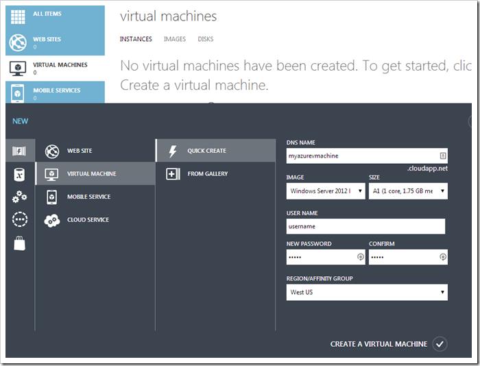 Creating a new WIndows Azure Virtual Machine.
