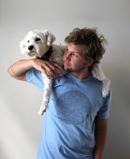 Albie found a great shoulder to lean on in his adoptive human, who also moonlights as a T-shirt model!
