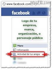 Actividad de tus amigos en Facebook Paginas