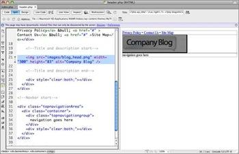 Mode Design pour personnaliser un thème Wordpress avec Dreamweaver