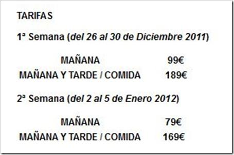 TARIFAS CAMPAMENTO GREEN CANAL URBANO MADRID NAVIDADES