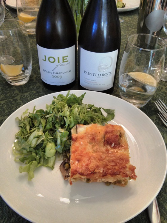 Joie & Painted Rock Chardonnay with Lasagne