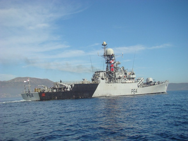 Indian Navy Warship, the Kora-class Corvette, INS Karmuk, in South Africa, for IBSAMAR exercise