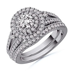 Round Diamond Wedding Ring Set in 14k White Gold