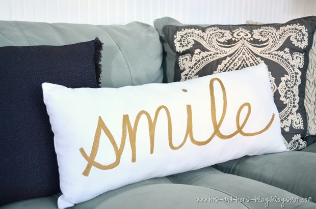 gold-painted pillow