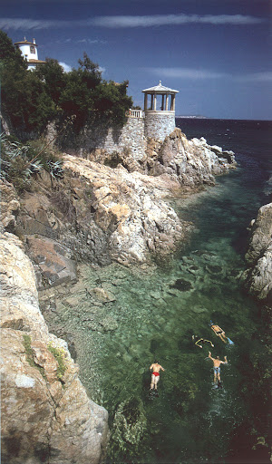 A natural swimming pool created by damming up an ocean cove, Costa Brava, Spain, circa 1975. (Poolside With Slim Aarons, Abrams)
