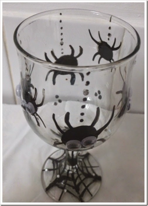 Halloween Spider Glass with googly eyes