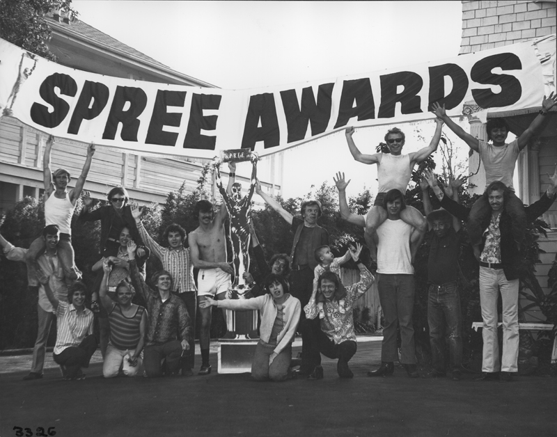 Pre-event cast shot for the SPREE (The Society of Pat Rocco Enlightened Enthusiasts) Awards. 1973.