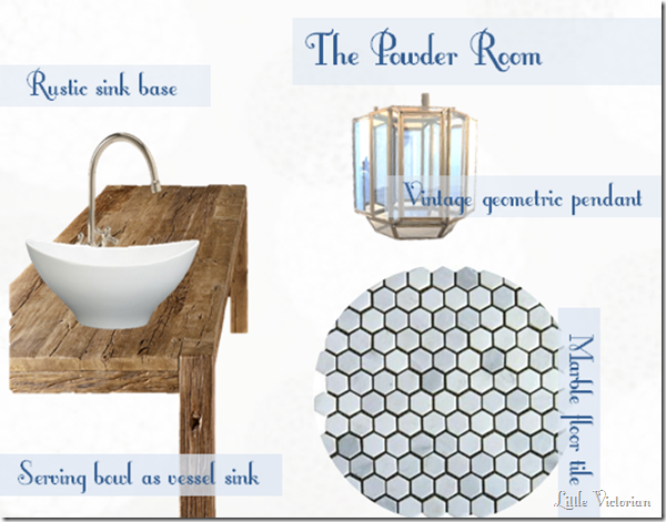 white on white powder room mood board