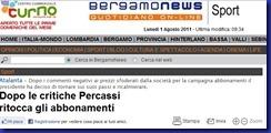 BERGAMO NEWS ATALANTA ABBASSA ABBONAMENTI