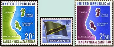 afr stamps first _1964 Stamps of Tanzania - Map - Flag -stamps 1, 4, 6