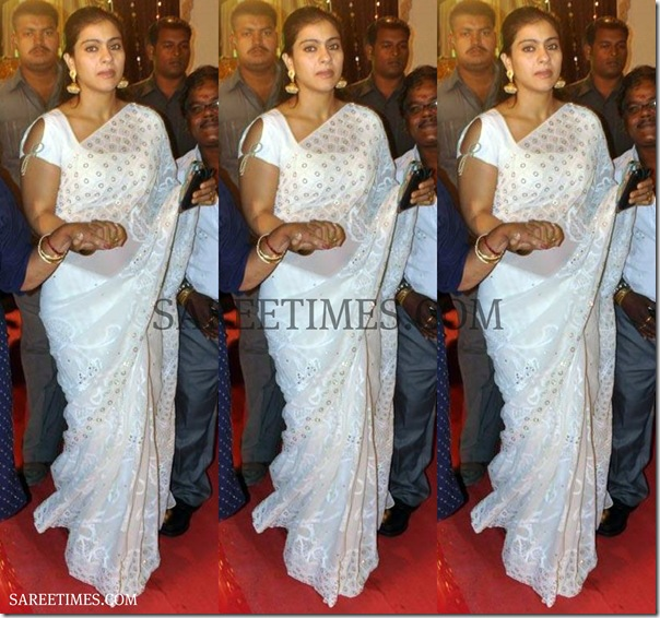 Kajol_White_Saree