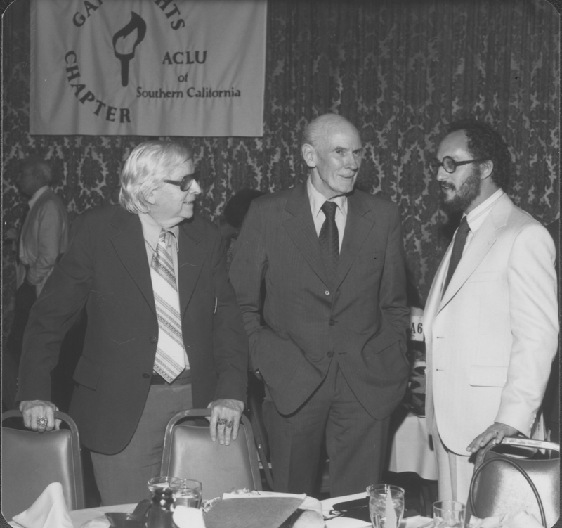 American Civil Liberties Union (ACLU) Southern California Gay Rights Chapter awards banquet at the Hollywood Palladium honoring Reverend Troy Perry. Photograph includes Morris Kight (left) and U.S. Senator Alan Cranston (center). April 29, 1978.