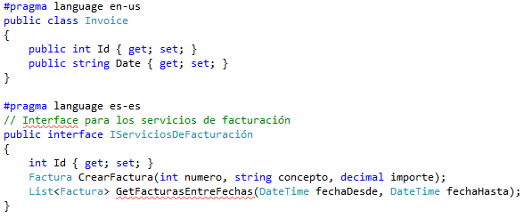 Directiva pragma language