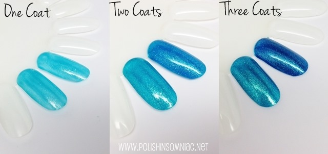 OPI Catch Me In Your Net (left) vs The Sky's The Limit (right)