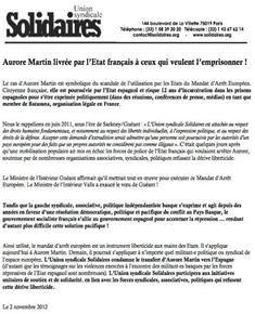comunicat Aurera Martin Solidaires 021112