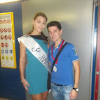 Giuseppe con miss Italia nel Mondo  testimonial di una azienda cosmetica