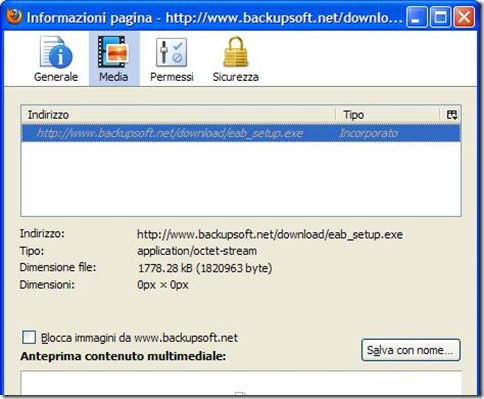Firefox Informazioni pagina Indirizzo