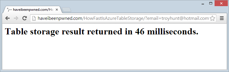 Table storage result returnd in 46 milliseconds