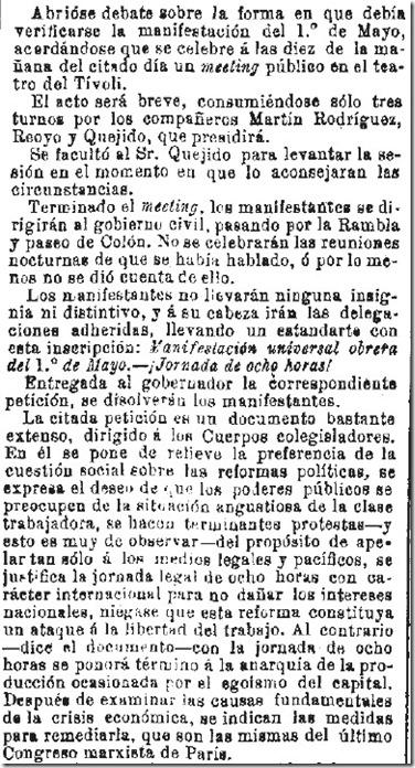 1890-04-30 - La Iberia - 01 (Preparativos del 1º de Mayo - Barcelona - 2)