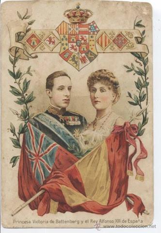 Princesa Victoria de Battenberg y el Rey Alfonso XIII de España. Escudo Real. Mateu
