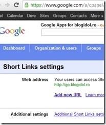 Short Links Settings top