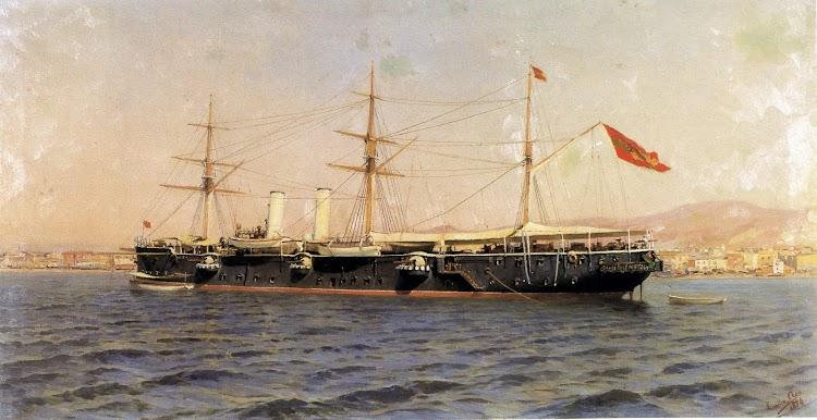 Óleo de autor indeterminadlo representando el crucero ALFONSO XII. Del libro ESPANYA FI DE SEGLE, 1898.jpg