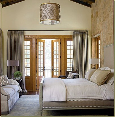 French doors w/draperies