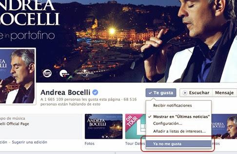 Hacer clic en Ya No Me Gusta de Facebook